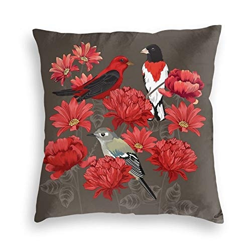 Birds and Roses Velvet Throw Pillow Covers Cozy Square Throw Pillow Case Home Decorative for Bed Couch Sofa Living Room Cushion Covers 18'X18'