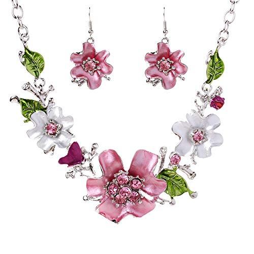 Ouken - Collar de aleación para mujer, diseño de gota con forma de gota de pedrería y flores, collar y pendientes exquisitos