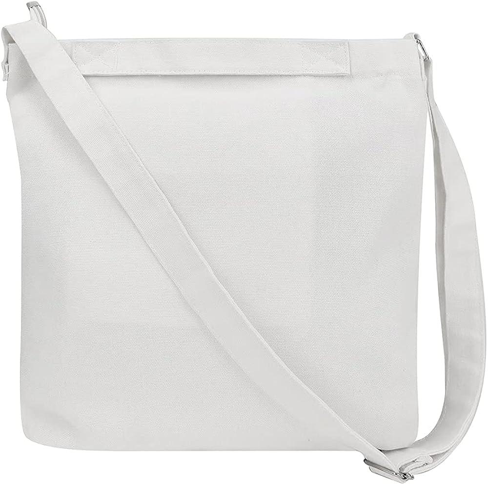 Muka Crossbody Hobo Tote Bag, Canvas Shoulder Bag with Zipper, 13-1/2 x 13-1/4 x 2-1/2 Inch