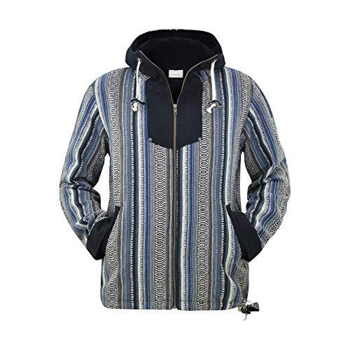 virblatt –Baja Jacke Poncho Herren Goa Hoodie Pullover Hippie Kleidung Ethno Mode - Amsterdam BRXL