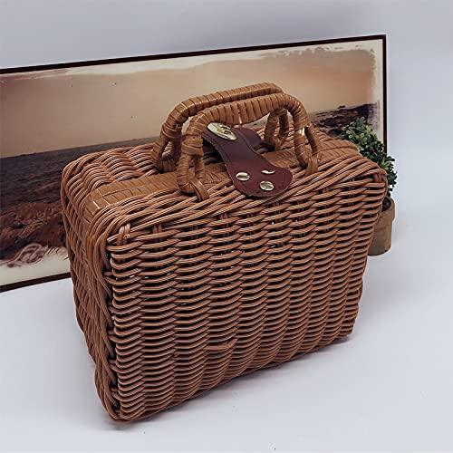 MUY Handma Rattan Aufbewahrungsbox Aufbewahrungsbox Requisiten Aufbewahrungsbox Picknickkorb Koffer Retro gewebte Box für Frauen Valentinstag
