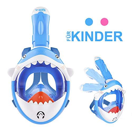 Isuda Volgelaatsmasker, duikmasker, met mooie box voor kinderen, 180 graden gezichtsveld, volgelaatsmasker, met action camera houder en waarschuwingstop, anti-condens en anti-lek