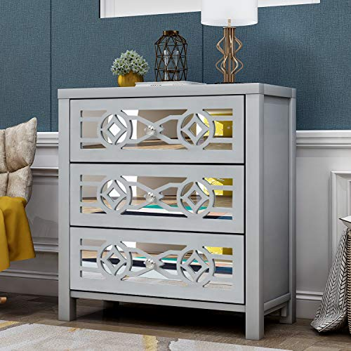 Goujxcy Mirror Door Accent Canbinet, 3-Drawer Chest Dresser Wood Entryway Console Sofa Table, 26L x 12.2W x 28H (Silver)