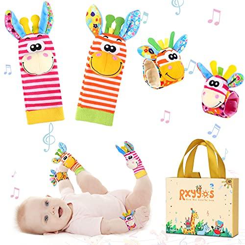 Calcetines Sonajero Bebé, Sonajero Calcetines y Muñequeras para Bebé Recién Nacido Traqueteo de Bebe Niños Juguete Sonajero Muñeca y Pies Juguetes de Desarrollo Animales Suaves