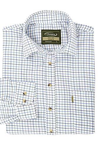 Walker and Hawkes - Camisa de Manga Larga para Hombre - Algodón de fácil Cuidado - Estilo leñador - Estampado a Cuadros - Azul - 3XL (48'')