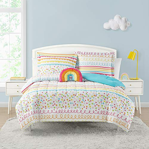 Home Resort Color Pop Rainbow Pink 4-Piece Reversible Comforter Set with Decorative Pillow, Pinks, Orange, Yellow, Lime Green, and Blue, Girls Bedding, Twin