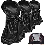 3PCS Silky Durags Pack for Men Waves, Satin Doo Rag, Award 1 Wave Cap,Style N