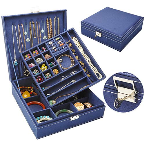 Jewelry Box for Women Girls, QBeel 2 Layer 36 Compartments Necklace Jewelry Organizer Box with Lock Jewelry Holder Display Storage Case for Earrings Bracelets Rings - Deep Blue