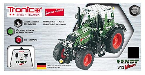 RC Traktor kaufen Traktor Bild 1: Tronico 10069 - Metallbaukasten Traktor Fendt 313 Vario mit Fernsteuerung, Junior Serie, Maßstab 1:24, 574-teilig, grün*