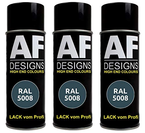 Alex Flittner Designs 3X RAL Lackspray Autolack Buntlack Spraydose RAL5008 GRAUBLAU glänzend