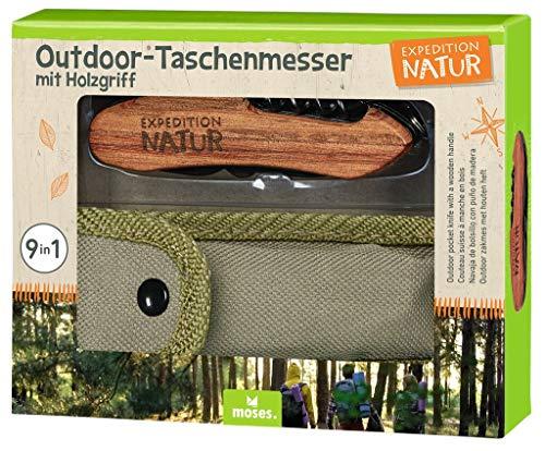 moses. Unisex Jugend Outdoor-Taschenmesser, Schwarz-Braun, handlich