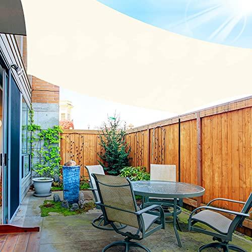 OKAWADACH Sonnensegel, Polyester Sonnensegel Sonnenschutz Garten Balkon und Terrasse wetterbeständig mit UV Schutz Windschutz für Garten Terrasse Camping (Rechteckig 2 x 3m Cremeweiß)