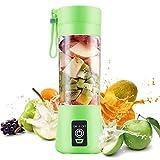 Licuadora Portátil , Eléctrico USB Juicer Mini Licuadora Taza de Jugo Máquina de Exprimidor de Botellas de Agua de 380 ml Con 4 Cuchillas, Smoothies, Batería Recargable de 1000 mAh (Verde)