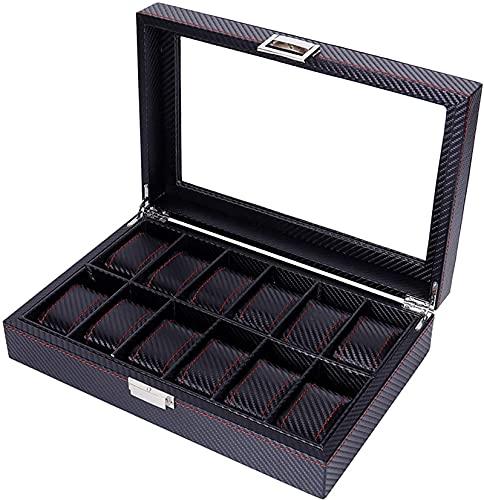 Caja de reloj grande 12 hombres negro pantalla de cuero superior de cristal caja de joyería con cerradura y llaves