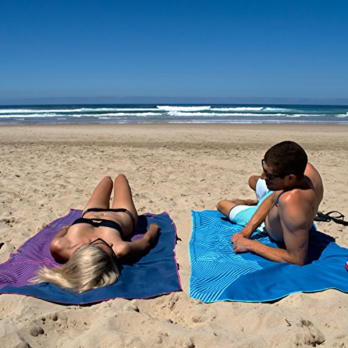 Microfibre Beach & Travel Towel & Bag - Extra Large, Quick Dry, Towel with Handy Zipper - Ideal for Sports, Yoga or Gym - A Huge 180 x 90 cm Towel with Custom Stripe Pattern Design (Pink Stripe)