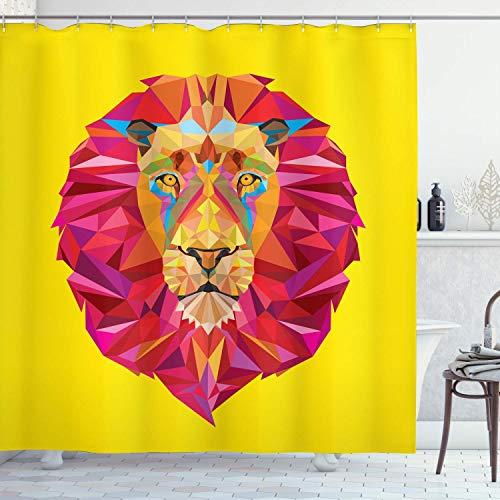 Alvaradod Zoo Duschvorhang,Bunte Tiere geometrische Diamant Gesicht Lions Mane Safari Wildlife Thema Bild,Stoff Stoff Badezimmer Dekor Set mit,Mehrfarbig mit 12 Kunststoffhaken 180x210cm