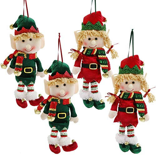 SpecialYou 4pcs Plush Christmas Elves Toys 10' Adorable Boy and Girl Elf Doll Hanging Christmas Ornaments for Holiday Door Tree Decor Xmas Gifts