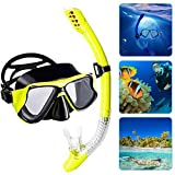 OFOCASE Dry Snorkel Set, Anti-Fog Scuba Diving Anti-Fog Impact Resistant Panoramic Wide View Diving Goggle, Easy Breathing and Professional Snorkelling Gear for Adults (Yellow)