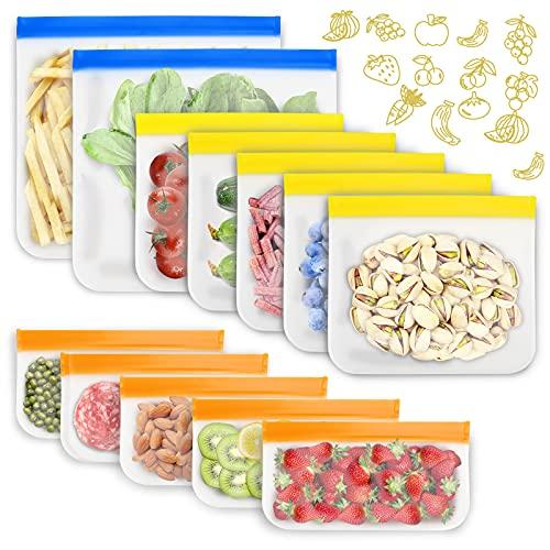 12 bolsas reutilizables para alimentos, 3 tamaños diferentes, bolsas de almacenamiento reutilizables, fabricadas con PEVA, sin BPA y ecológicas, para congeladores, frutas, sándwich/carnes.