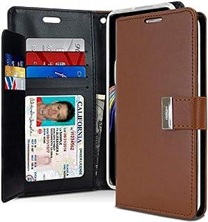 محفظة حماية لجهاز سامسونج جالكسي نوت 9 من الجلد مع جيوب داخلية، بني