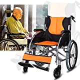 OLDHF Autopropulsable Silla de Ruedas de Aluminio, Estructura Ligera y Plegable,Silla de Viaje de tránsito portátil,con Bolsa de Almacenamiento, reposapiés extraíbles, para Ancianos, discapacitados