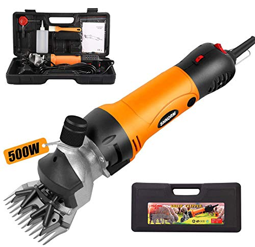 500W Electric Sheep Shearing Clipper Trimming Animal Hair Scissors Cutter Lamb Wool Cutting Machine, 6 Speeds Heavy-Duty Farm Livestock Haircut Trimmer with Carrying Case (orange & black)