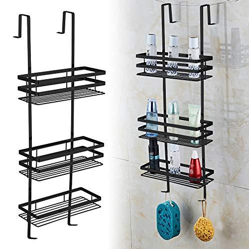 Estante de ducha colgante, estante de baño y estantería, estantería de baño de cromo sin taladrar, 3 estantes, Negro