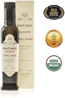 Entimio Audace   Medium-Robust Organic Olive Oil Extra Virgin   2018 Harvest Italian Olive Oil from Italy, Tuscany, 2019 Gold Award   First Cold Pressed, Rich in Antioxidants   8.5 fl oz