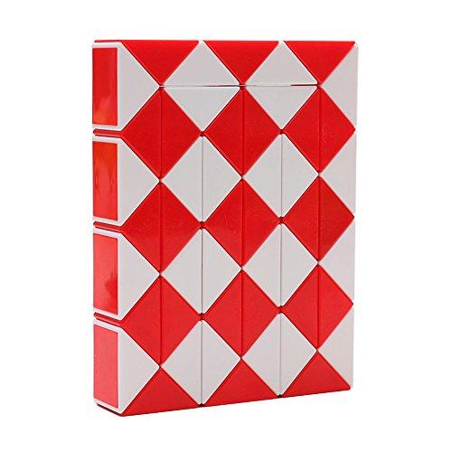 Magic Serpiente Twist Puzzle Twisty Toy Colección 48 cuñas Magic Ruler (Rojo)