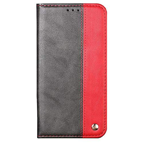Ailisi Handytasche iPhone 5/5S Hülle, iPhone SE Schutzhülle, Premium Luxus Klapphülle Slim Handyhülle mit Kartenfächern, Magnetisch Tasche Leder Flip Hülle für iPhone 5/5S/SE Cover -Schwarz+Rot