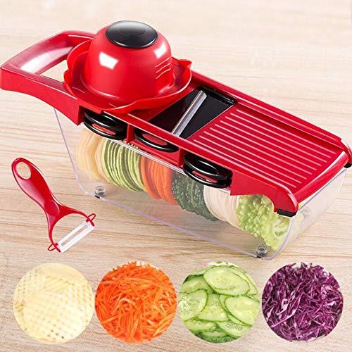 Multifunctional Adjustable Mandolin Slicer, Best For Slicing Foods, Fruits And Vegetables, Industry-grade Shredded Slicer + 6 Different Blades With Protector