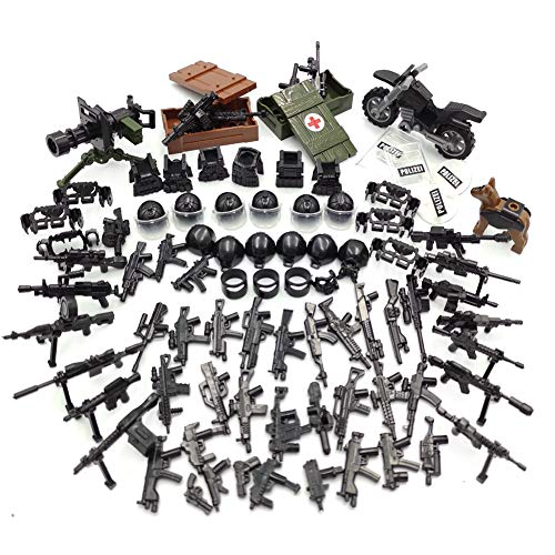 Police Weapons Toy Accessories with Soldier People Border Protection - Custom Army Builder Military Battle Brick Toys