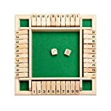 Shut The Box Dice Game - Classic 4 Sided Wooden Board Game with Dice and Instructions for Kids Adults,...