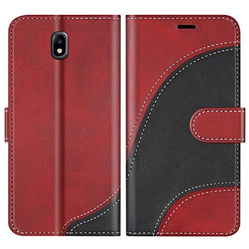 BoxTii Funda para Galaxy J5 2017, Funda de PU Cuero para Samsung Galaxy J5 2017, Magnético Carcasa Libro con Ranuras para Tarjetas, Rojo