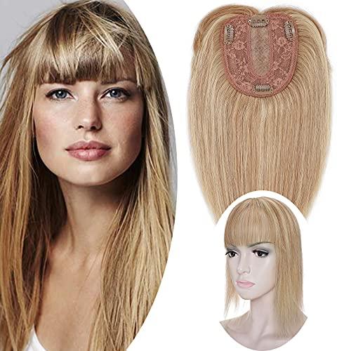 SEGO Extension Frange a Clip Cheveux Naturel Volumateur Capillaire Femme Toupee 4 Clips - 30 cm 12P613#Brun Doré & Blond Blanchi Densité 130% - Monobande Humains 100% Remy Human Hair