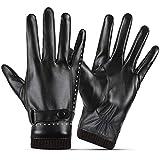 SANKUU Women Leather Gloves, Fleece Lined Winter Warm Gloves with Full-Hand Touchscreen (Black, Medium)