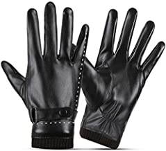 SANKUU Women Leather Gloves, Fleece Lined Winter Warm Gloves with Full-Hand Touchscreen (Black, Large)