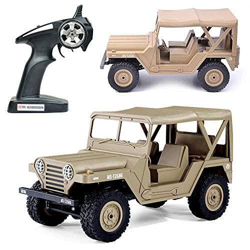 Weaston Vehículo Militar Todoterreno M151 a Escala 1:14, camión RC de Carga 4WD para Escalar y derrapar, camión eléctrico Todo Terreno de 2,4 GHz, Camiones de orugas Monstruo RC, Excelentes