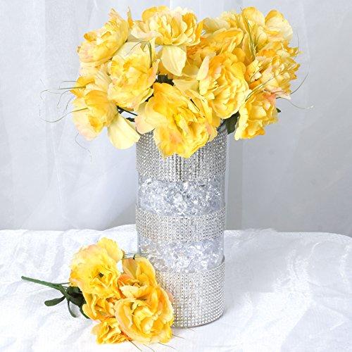 BalsaCircle 60 Yellow Silk Peony Flowers - 12 Bushes - Artificial Flowers Wedding Party Centerpieces Arrangements Bouquets Supplies