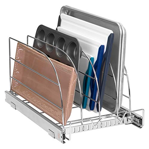 "Pull Out Organizer Rack for Bakeware - Sliding Kitchen Cabinet Organizers and Storage Rack for Cutting Boards, Baking Pans, Cupcake Pans and More 12.5"" W x 21"" D x 10.63"" H Heavy Duty, Chrome"