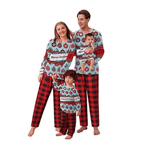 Nachtwäsche Damen Set Lang Winter Baumwolle Frau Herren Christmas Pyjamas Family Familie Weihnachten Schlafanzüge Schlafanzug Set Elegant Weihnachts Hausanzug Weihnacht Schlafshirt PJs Sleepwear