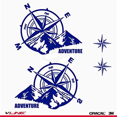 Provinyl Pegatinas Brújula Rosa de los Vientos Trail Off Road Todoterreno 4x4 Sport + 2 Estrellas para Coche o Moto (Azul Oscuro)