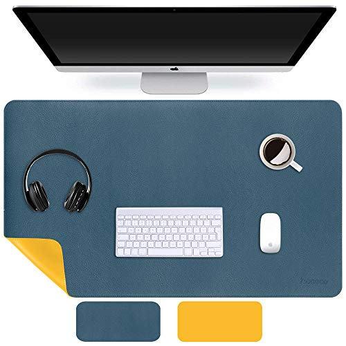 HAOCOO Dual Sided Desk Mat ,23.6' x 13.7' PU Leather Desk Pad Desk Blotter Protector Extended Mouse Pad Writing Pad Large Gaming Mouse Mat Home Office Accessories (Dark Blue&Yellow, 23.6' x 13.7')