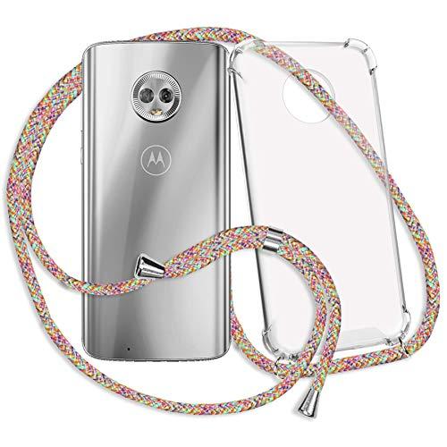 mtb more energy® Collar Smartphone para Motorola Moto G6 (5.7'') - Rainbow - Funda Protectora ponible - Carcasa Anti Shock con Cuerda