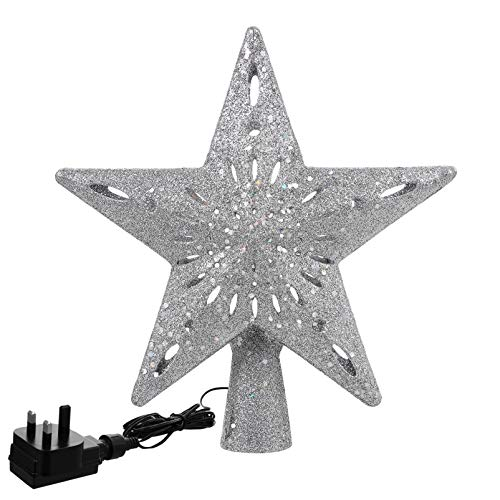 SOLUSTRE Christmas Tree Topper with Rotating Snowflake Projector Silver Star Tree Top for Christmas Festive Bedroom Decoration