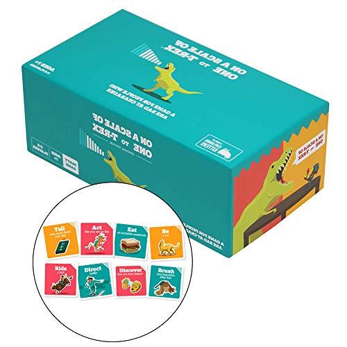 WOGQX Auf Einer Skala Von Eins Bis T-Rex Kartenspiel, Familienfreundliche Partyspiele, 2-8 Spieler, 7+, Für Erwachsene, Jugendliche & Kinder
