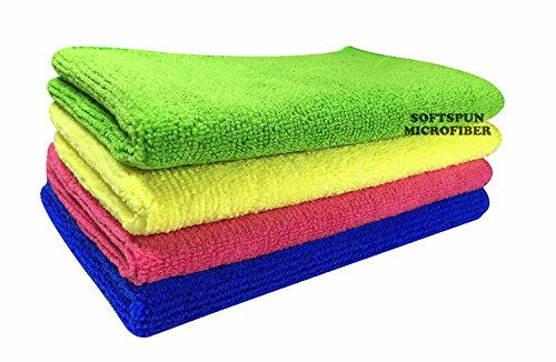 SOFTSPUN Microfiber Cloth - 4 pcs - 30x40 cms - 340 GSM Multicolor - Thick Lint & Streak-Free Multipurpose Cloths.