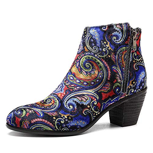 SOCOFY Painting Pattern Velvet Cloth Zipper Ankle Short Boots Blue