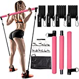 Pilates Bar Kit with Resistance Bands(2 Standard&2 Strong),Protable Home Gym Workout Equipment For Women,Perfect Stretched Fusion Exercise Bar and Bands for Toning Muscle,Leg,Butt and Full Body (Pink)
