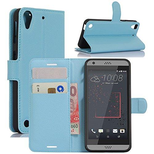 HualuBro HTC Desire 530 Hülle, Premium PU Leder Leather Wallet HandyHülle Tasche Schutzhülle Flip Hülle Cover für HTC Desire 530 Smartphone (Blau)